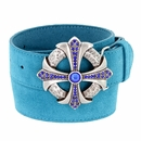 Capri Blue Rhinestone Cross Celtic Buckle Suede Leather Belt -  Blue