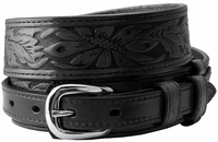 10577 Carson Black Western Tooled Genuine Leather Casual Jean Ranger Belt