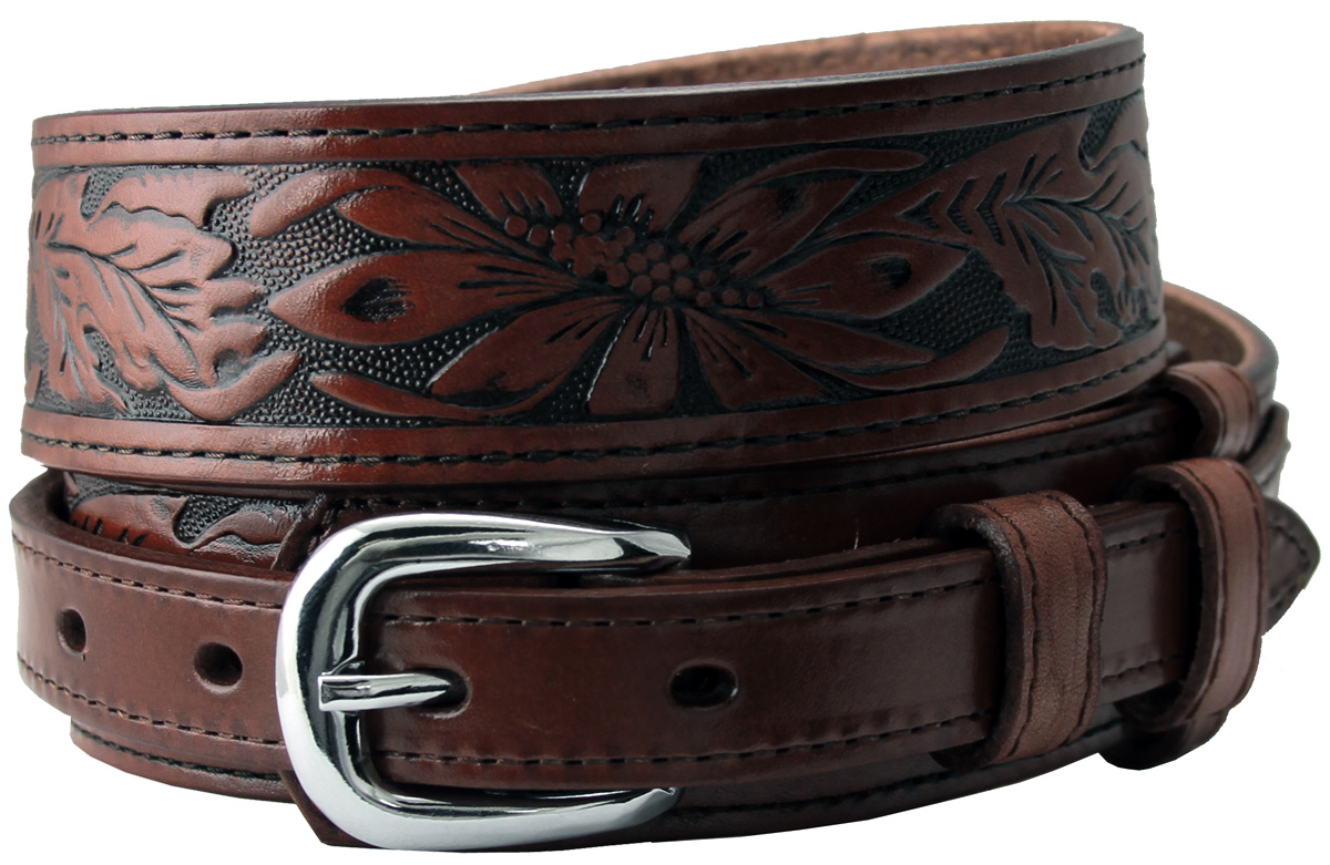 10579 carson brown western tooled genuine leather casual