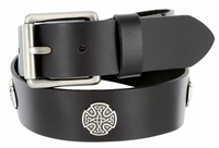 "Celtic Conchos Genuine Leather Casual Jean Belt 1-1/2"" Wide"