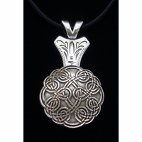 Celtic Knot Concho Silver Finish Necklace