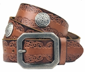 "Celtic Links Western Engraved Leather Belt 1 1/2"" Wide"