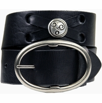 "Celtic Swirl Genuine Leather Belt-Black 1 3/4"" Wide"