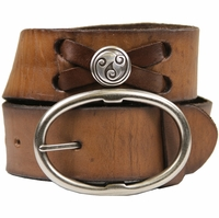 "Celtic Swirl Genuine Leather Belt-Brown 1 3/4"" Wide"