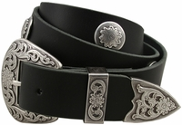 "Charlie Western Cowhide Leather Belt Black 1-1/2"" Wide"
