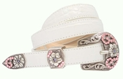 Christine Pink Swarovski Western Rhinestone Crystal Leather Belt