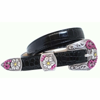 Christine  Rose Swarovski Western Rhinestone Crystal Leather Belt