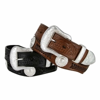 Cinquefoil Western Embossed Leather Belt