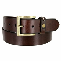 """Classic Genuine Leather Nickel Free Buckle Casual Dress Belt 1-1/2"""" wide ND333646MN - Brown"""