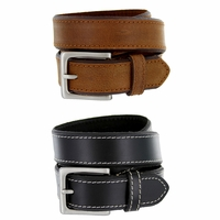 "Classic Jean Beveled Edge Genuine Leather Belt 1-3/8"" Wide"