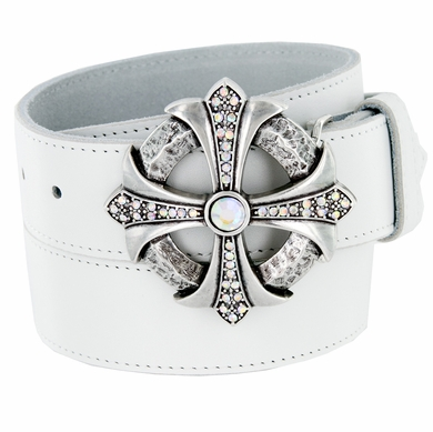 Clear Crystal Rhinestone Cross Celtic Buckle Genuine Leather Belt - White