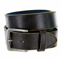 "Compton Men's Black Vintage Distressed Leather casual Belt 1-1/2"" (38mm)"