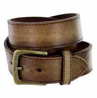 "Compton Men's Brown Vintage Distressed Leather casual Belt 1-1/2"" (38mm)"
