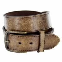 """Compton Men's Brown Vintage Distressed Leather casual Belt 1-1/2"""" (38mm)"""