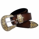 "Cowboy Western Buckle Full Grain Leather Belt 1 1/2"" Wide"