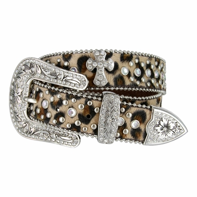 Cowgirl Leopard Rhinestone Leather Belt 1 1/2""