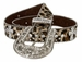 "Cowgirl Leopard Rhinestone Leather Belt 1 1/2""2"