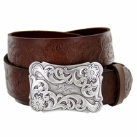 "Cowtown Western Tooled Full Grain Leather belt 1 1/2"" wide"