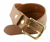 "Creek Mens Full Grain Brown Leather Casual Jean Belt  1-1/2"" Wide"