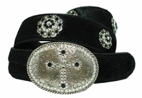 Cross Hair on Rhinestone Crystal Conchos Leather Belt