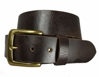 "CX143 Solid Brass Buckle Causal Leather Jean Belt 1.5"" Wide"