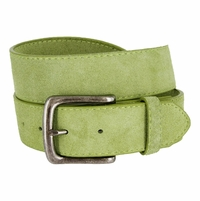 "CX160 Suede Leather Casual Jean Belts 1-1/2"" wide - Green"