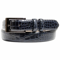 "DB Men's Italian Leather Navy Dress Belt 1 1/8"" Wide"