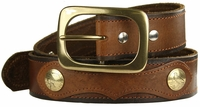 "Deacon Western Designer Vintage Genuine Leather Casual Jean Belt 1 1/2"" wide $35.00"