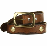 "Deacon Western Designer Vintage Genuine Leather Casual Jean Belt 1 1/2"" wide"