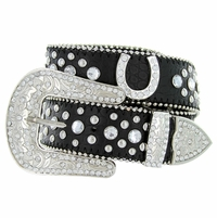 Deal of Today 50125 Western Cowgirl Bling Horseshoe Rhinestone Leather Belt - Black