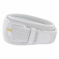 "7001 Leather Covered Buckle Woven Elastic Stretch Belt 1-1/4"" Wide - White"