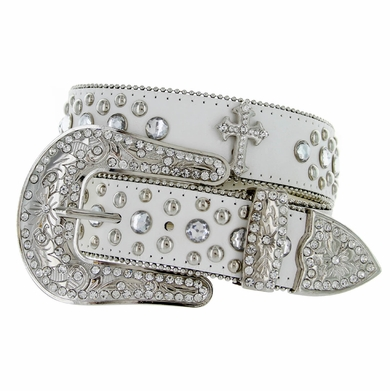 Deal of Today Rhinestone Belt 50127 White