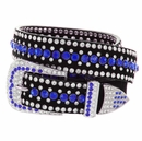 "DM1006 Women's Rhinestones Studded Leather fashion Belt 1-1/4"" Wide - Blue"