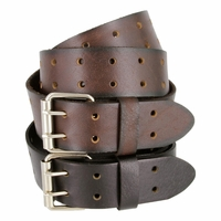 Double Hole Roller Buckle Casual Jean Genuine Leather Belt