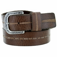 E044 Men's Italian Full Leather Casual Jean Belt Made in Italy - Marrone (Brown)