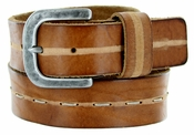 E044 Men's Italian Full Leather Casual Jean Belt Made in Italy - Marrone(Brown)