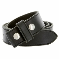 "E051 One Piece 100% Full Genuine Leather Belt Strap 1-1/2"" (38mm) Made In Italy - Black"