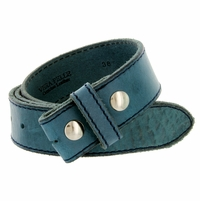 "E051 One Piece 100% Full Genuine Leather Belt Strap 1-1/2"" (38mm) Made In Italy - Blue"