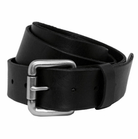 Falcon Vintage Full Grain Leather Brass Roller Buckle Belt-Black