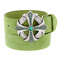 Fern Green Rhinestone Cross Celtic Buckle Suede Leather Belt - Green