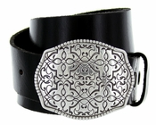 Floral Design Belt Buckle Casual Jean Leather Belt