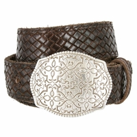 """Full Grain Braided Woven Casual Leather Belt with Floral Design Belt Buckle 1-1/2"""" - Brown"""