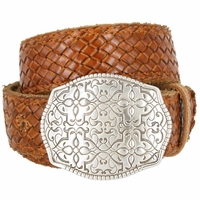 """Full Grain Braided Woven Casual Leather Belt with Floral Design Belt Buckle 1-1/2"""" - Tan"""