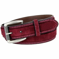 Full Grain Suede Casual Jeans Leather Belt Roller Buckle 35mm wide - Burgundy