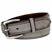 Full Grain Suede Casual Jeans Leather Belt Roller Buckle 35mm wide - Gray