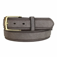 Fullerton 3510004 Genuine Full Grain Suede Leather Belt with Brass Buckle - Gray