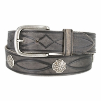 Fullerton 3820004 Genuine Full Grain Leather Tooled Belt with Antique Nickel Buckle and Celtic Conchos
