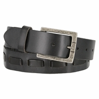 Fullerton 383000104 Full Grain Leather Belt Strap with Matching Overlapped Leather - Black