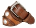 "Fullerton Vintage Leather Buffalo Nickle Concho Belt Hand-Laced Genuine Full Grain Leather Belt 1-1/2"" Wide 2"