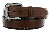"G Bar D Men's Western Leather Conchos Belt 1-1/2"" - Dark Brown"